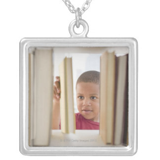 African American boy selecting book Silver Plated Necklace