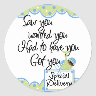 African American Boy Special Delivery Cards Round Sticker