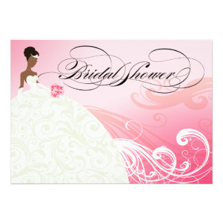 AFRICAN AMERICAN BRIDE Bridal Shower baby pink Invitations