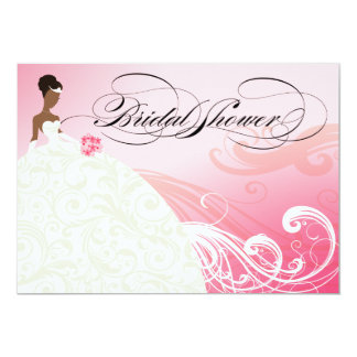 AFRICAN AMERICAN BRIDE Bridal Shower | baby pink 5x7 Paper Invitation Card