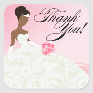 AFRICAN AMERICAN BRIDE Thank You Baby Pink Stickers