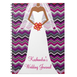African American Bride's ZigZag Journal Notebook