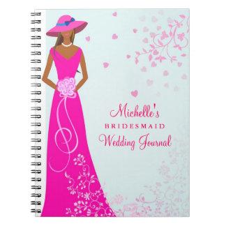 African American Bridesmaid Wedding Journal Spiral Notebook