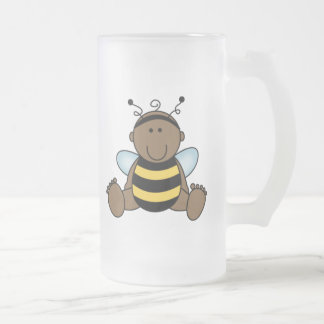 African American Bumble Bee Baby Frosted Glass Mug