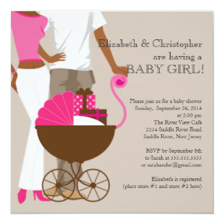 African American Carriage Couple Baby Shower Custom Invites