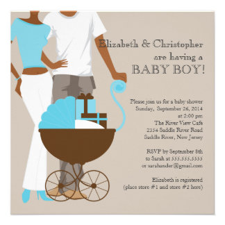 African American Carriage Couple Baby Shower Personalized Invitations