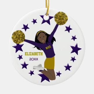 African American Cheerleader Purple & Gold Round Ceramic Decoration