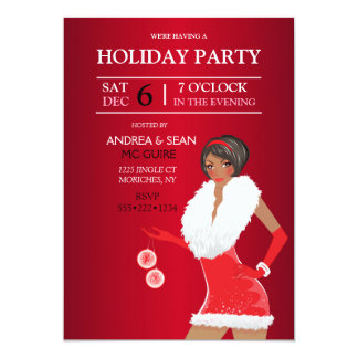 African American Christmas Fashion Girl Holiday 13 Cm X 18 Cm Invitation Card