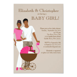 African American Couple Carriage Baby Shower Personalized Announcement