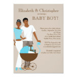African American Couple Carriage Baby Shower 13 Cm X 18 Cm Invitation Card