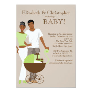 African American Couple Gender Neutral Baby Shower 13 Cm X 18 Cm Invitation Card