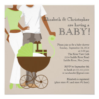 African American Couple Gender Neutral Baby Shower Custom Invitations