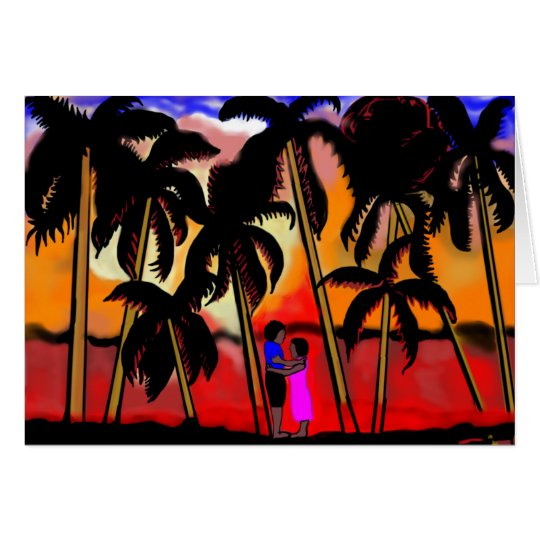African American couple on beach with palm trees