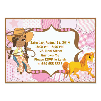 African American Cowgirl Birthday Invitation