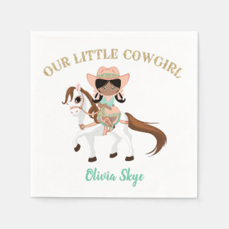 African American Cowgirl on Horse Girls Western Disposable Serviettes