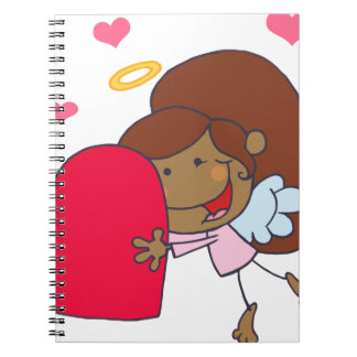 African American Cupid Girl Spiral Note Book