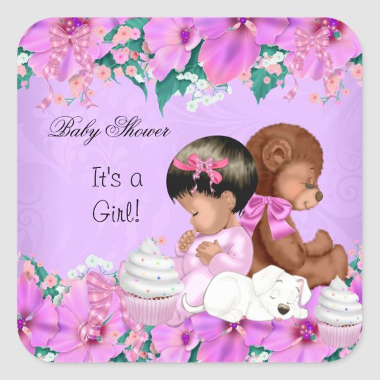 African American Cute Baby Shower Girl Puppy Square