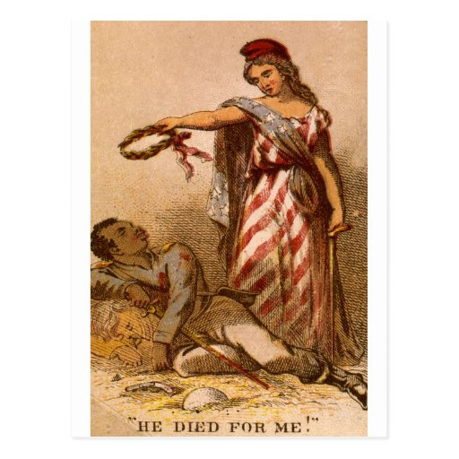 African American dying - Civil War image 1863 Postcards