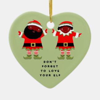 African-American Elves Ceramic Heart Decoration