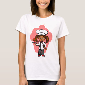 African American Female Chef with Cupcake T-Shirt