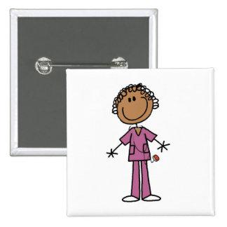 African American Female Stick Figure Nurse 15 Cm Square Badge