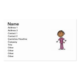 African American Female Stick Figure Nurse Business Cards