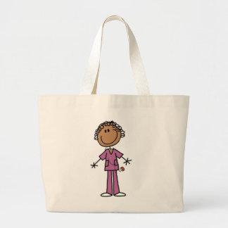 African American Female Stick Figure Nurse Large Tote Bag