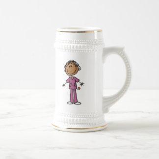 African American Female Stick Figure Nurse Mug