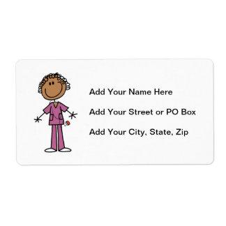 African American Female Stick Figure Nurse Shipping Label