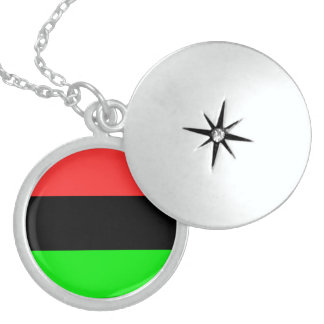 African American Flag Sterling Silver Necklace