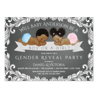 African American Gender Reveal Shower Invitations