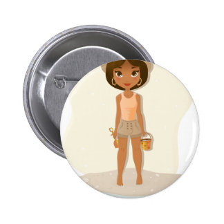 African American Girl 6 Cm Round Badge