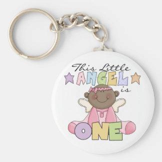 African American Girl Angel 1st Birthday Key Chain