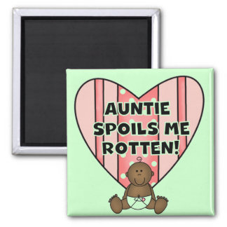 African American Girl Auntie Spoils Me Tshirts Magnets