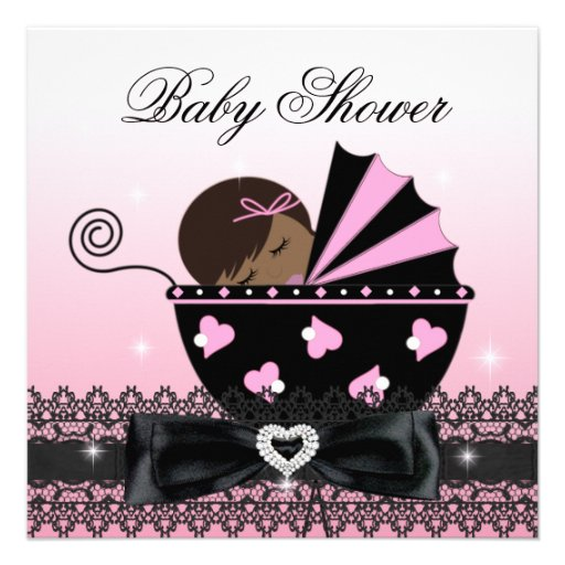 African American Girl Baby Shower Party Pink Personalized Invitation