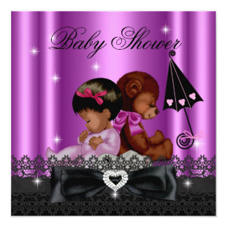 African American Girl Baby Shower Party Pink 5.25x5.25 Square Paper Invitation Card