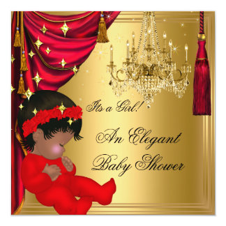 African American Girl Baby Shower Red Gold 5.25x5.25 Square Paper Invitation Card