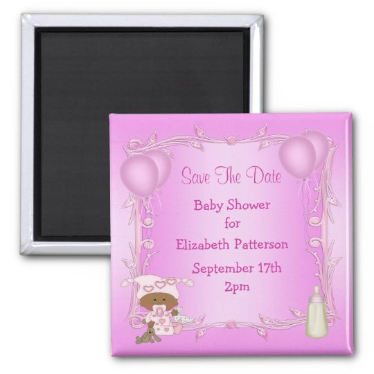 African American Girl Baby Shower Save The Date