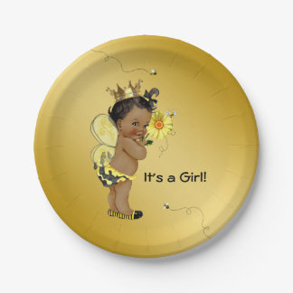 African American Girl Bee Baby Shower Paper Plate