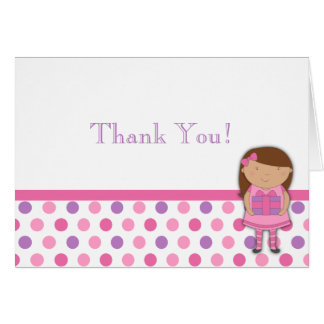 African-American Girl Birthday Thank You Note Greeting Card