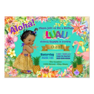 African American Girl Hawaiian Luau Birthday Party 11 Cm X 16 Cm Invitation Card