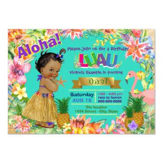 African American Girl Hawaiian Luau Birthday Party Card