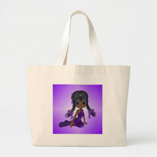 African American Girl in Purple Clothes Bags