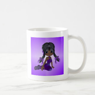 African American Girl in Purple Clothes Mugs