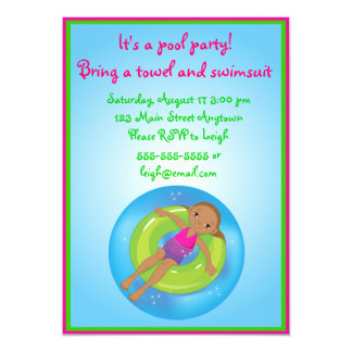 "African American Girl Pool Birthday Invitation 5"" X 7"" Invitation Card"