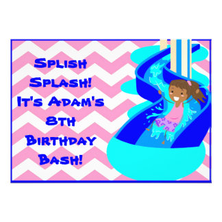 African American Girl Pool Party Invitation