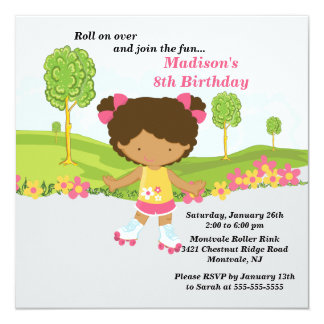 African American Girl Skating Birthday Party 13 Cm X 13 Cm Square Invitation Card