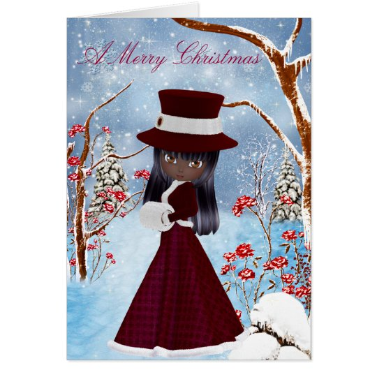 African American Girl, Snow , Merry Christmas Card