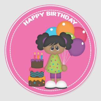 African American girl with balloons Birthday Round Sticker