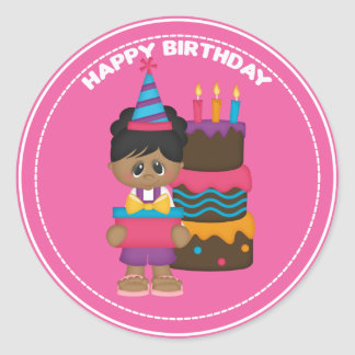 African American girl with gift Birthday Round Sticker